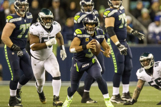 Seattle Seahawks quarterback Russell Wilson (3) scrambles against the Philadelphia Eagles during the second quarter at CenturyLink Field in Seattle, Washington on December 3, 2017. File photo by Jim Bryant/UPI
