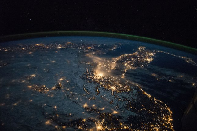 Researchers say that light pollution -- specifically skyglow, or light scattered and reflected into the atmosphere -- can have wide-ranging effects on individual species and entire ecosystems. File Photo by NASA/UPI