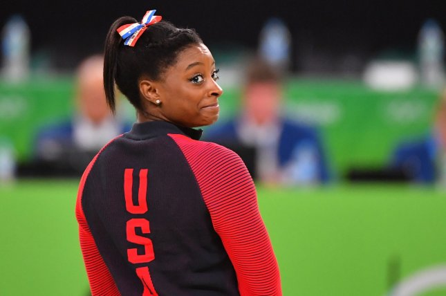 Simone Biles of the United States won her 24th and 25th medals, both gold, at the 2019 World Championships Sunday. File Photo by Kevin Dietsch/UPI