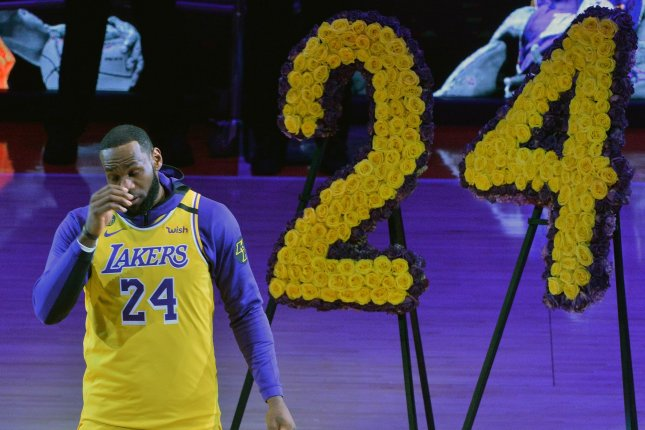 Los Angeles Lakers forward LeBron James (pictured) said Kobe Bryant's Jan. 26 death brought the team closer together and inspired their 2020 NBA Finals run. File Photo by Jim Ruymen/UPI