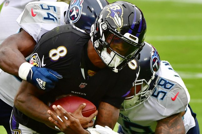 Baltimore Ravens quarterback Lamar Jackson (8) tested positive for COVID-19 on Thursday and has been ruled out of the team's game on Sunday in Pittsburgh. File Photo by David Tulis/UPI