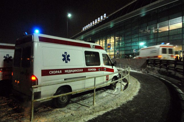 Ambulances wait outside Domodedovo airport in Moscow after an explosion on January 24, 2011. UPI File Photo
