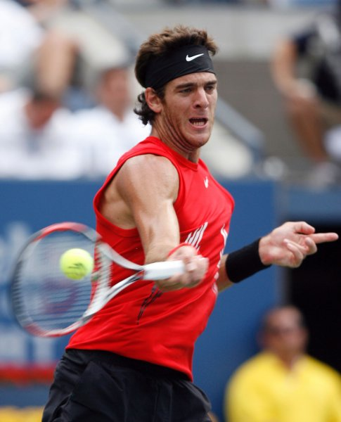 Juan Martin Del Potro, shown during this year's U.S. Open, had an easy straight-set win Friday, giving Argentina a 2-0 lead in its best-of-five Davis Cup semifinal series with Russia. (UPI Photo/John Angelillo)