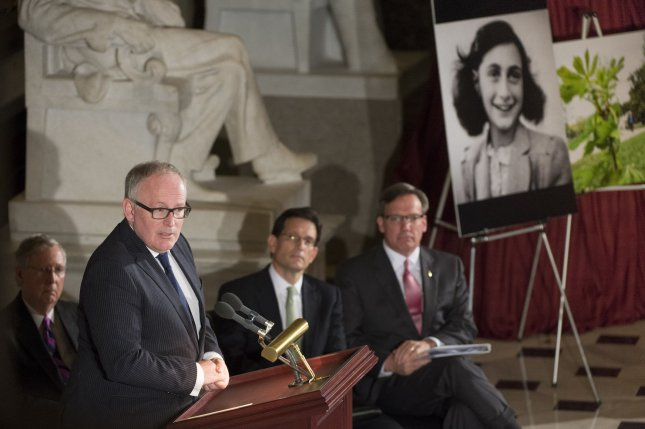 Duth Minister of Foreign Affairs Frans Timmermans speaks at a ceremony dedicating the Anne Frank Memorial Tree in Statuary Hall at the U.S. Capitol Building in Washington, D.C. on April 30, 2014. UPI/Kevin Dietsch