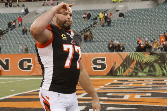 Former Cincinnati Bengals and current Los Angeles Rams left tackle Andrew Whitworth (77) will return to the Rams after contemplating retirement this offseason. File Photo by John Sommers II/UPI