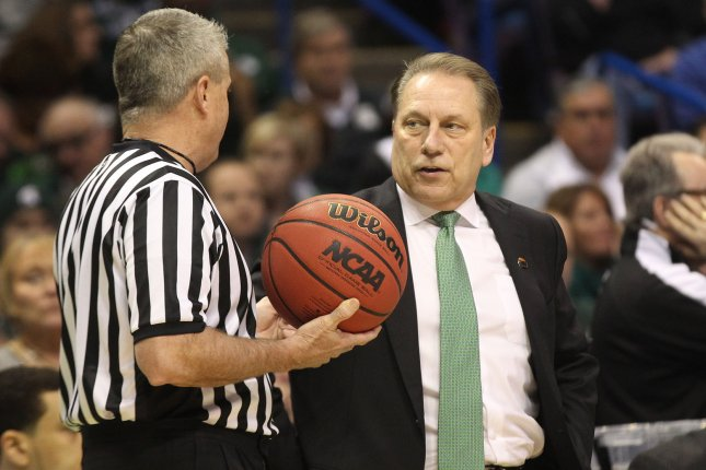 Michigan State basketball coach Tom Izzo said senior Kyle Ahrens will miss the 2019 NCAA tournament with an ankle injury. File Photo by Bill Greenblatt/UPI