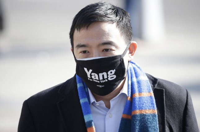 Mayoral candidate Andrew Yang greets supporters outside of the Barclays Center in the Brooklyn borough of New York City on March 3. Photo by John Angelillo/UPI