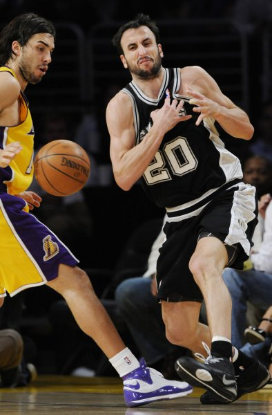 San Antonio's Manu Ginobili (R) may miss the Beijing Olympics as a member of the Argentine team due to an ankle injury. (File photo from first game of the Western Finals, May 21, 2008. Also pictures Los Angeles Lakers' Sasha Vujacic.) (UPI Photo/Jim Ruymen)