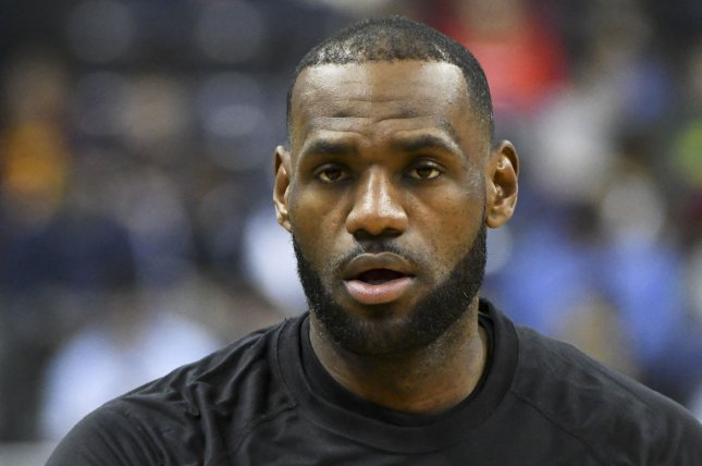 Cleveland Cavaliers forward LeBron James (23) warms up prior to the game against the Washington Wizards at the Verizon Center in Washington, D.C. on February 6, 2017. Photo by Mark Goldman/UPI