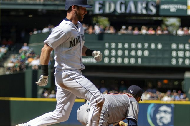 Seattle Mariners right-fielder Mitch Haniger (17) had a game-ending catch to help his squad beat the New York Yankees on Sunday at Safeco Field in Seattle. File Photo by Jim Bryant/UPI
