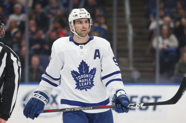 Toronto Maple Leafs forward John Tavares faced his old team again and came away with a decisive goal against the New York Islanders on Monday night. File Photo by Bill Greenblatt/UPI