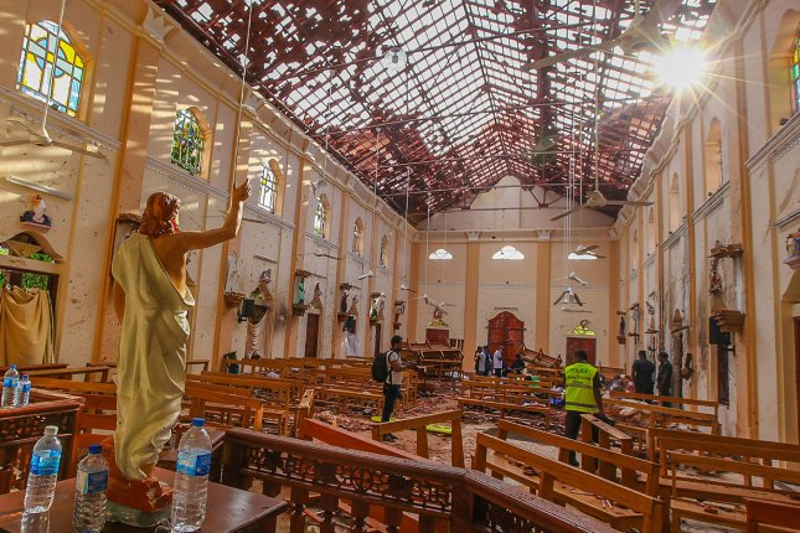 Sri Lankan soldiers investigate inside St. Sebastian's Church at Negombo on April 21. Photo by Perera Sameera/UPI