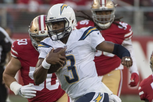 Quarterback Geno Smith (3) spent his 2018 campaign with the Los Angeles Chargers. File Photo by Terry Schmitt/UPI