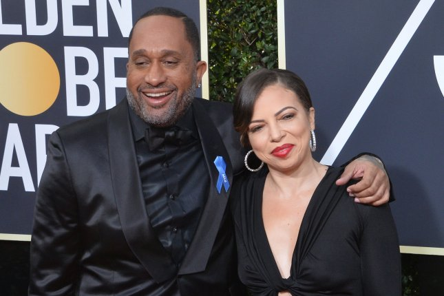 Kenya Barris (L) and his wife Dr. Rainbow Edwards-Barris attend the 75th annual Golden Globe Awards in January 2018. Barris discussed his upcoming animated series We the People and Black-ish ending on The Tonight Show. File Photo by Jim Ruymen/UPI