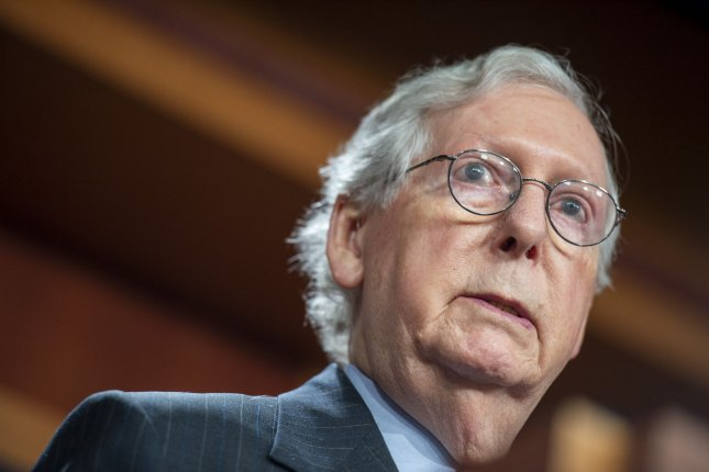 Senate minority leader Mitch McConnell, R-Ky., blamed the Democrats for letting the government shutdown deadline near, saying they new for two months that if they wanted to raise the debt ceiling they would have to do it without GOP support.Photo by Bonnie Cash/UPI