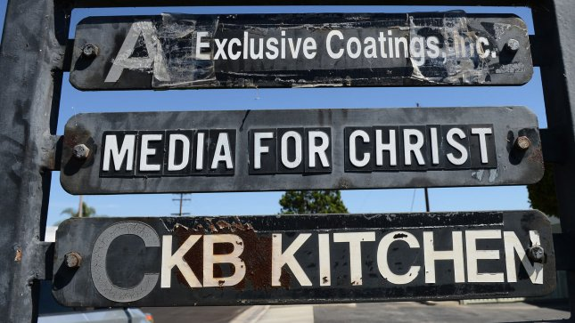 Directional signage at a commercial office park lists the Christian non-profit organization Media for Christ (second from top) in Duarte, California on September 14, 2012. Media for Christ is the group that obtained a permit to shoot the anti-Muslim video Innocence of Muslims. UPI/Jim Ruymen