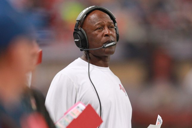 Tampa Bay Buccaneers Head Coach Lovie Smith watches his team take on the St. Louis Rams at the Edward Jones Dome in St. Louis on December 17, 2015. Photo by Bill Greenblatt/UPI