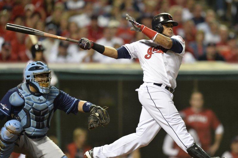 Cleveland Indians' Carlos Santana. UPI/Brian Kersey