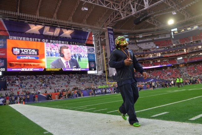 Seattle Seahawks RB Marshawn Lynch walks around the field at warm ups before playing the New England Patriots in Super Bowl XLIX at University of Phoenix Stadium in Glendale, Arizona, February 1, 2015. FIle photo by Kevin Dietsch/UPI
