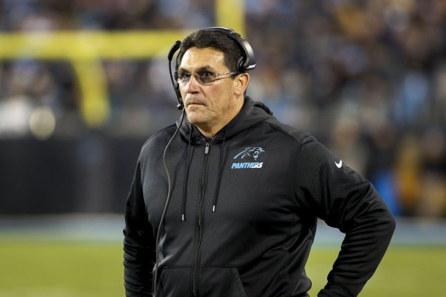 Carolina Panthers coach Ron Rivera stares at an official as his team plays the Tampa Bay Buccaneers at Bank of America Stadium in Charlotte, North Carolina on January 3, 2016. File photo by Nell Redmond/UPI