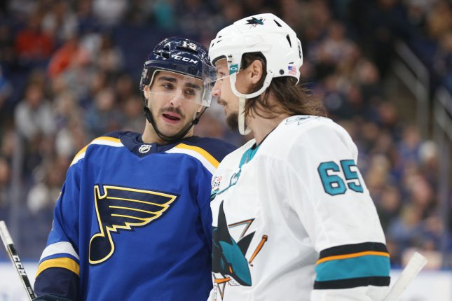 San Jose Sharks defenseman Erik Karlsson (R) is expected to be ready for the beginning of the 2019-20 season following groin surgery. File Photo by Bill Greenblatt/UPI