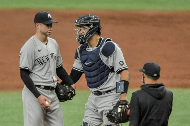 New York Yankees starter Corey Kluber (L), shown April 9, 2021, is expected to miss at least two months because of a right shoulder injury. File Photo by Steven J. Nesius/UPI