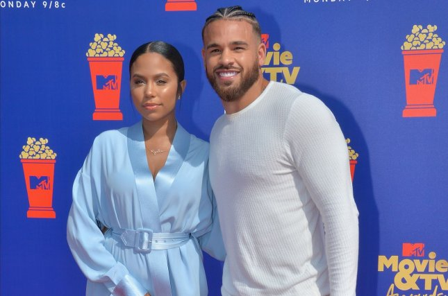 The Challenge's Cory Wharton (R) and Cheyenne Floyd arrive for the taping of the 28th annual MTV Movie & TV Awards ceremony in June 2019. Wharton competes in The Challenge: Spies, Lies & Allies, which premieres on August 11. File Photo by Jim Ruymen/UPI