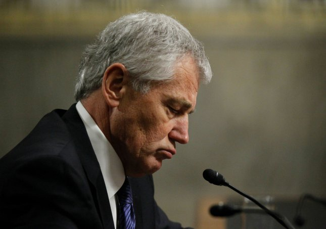 Former Senator Chuck Hagel listens to questions before the Senate Armed Services Committee for his confirmation hearing for Secretary of Defense, in Washington, DC on January 31, 2013. UPI/Molly Riley