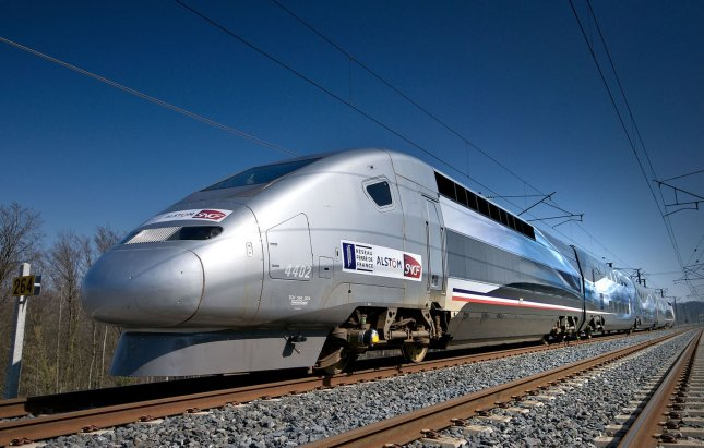 France's V150 TGV train. (UPI Photo/RFF ALSTOM SNCF)