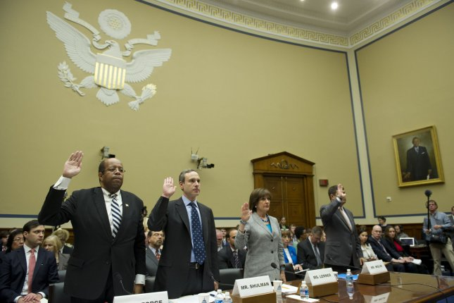 Left to right, J. Russell George, Treasury Inspector General for Tax Administration, Douglas Shulman, Former Internal Revenue Service (IRS) Commissioner, Lois Lerner, Director of Exempt Organizations for the IRS, and Neal S. Wolin, Deputy Secretary of the U.S. Department of the Treasury, are sworn-in during a House Oversight and Governmental Reform Committee hearing on the IRS and it's targeting of conservative groups, on Capitol Hill. A federal judge ruled Thursday that the IRS must explain under oath what happened to the Lois Lerner emails the agency claims are lost. UPI/Kevin Dietsch