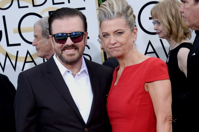 Special Correspondents writer, director and star Ricky Gervais, left, and Jane Fallon attend the 73rd annual Golden Globe Awards in Beverly Hills on January 10, 2016. File photo by Jim Ruymen/UPI