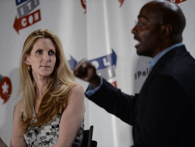Conservative pundit Ann Coulter (L) and CNN contributor Van Jones clash over Donald Trump and the issues dividing America during Politicon at the Pasadena Convention Center in Pasadena, California on June 25, 2016. Photo by Jim Ruymen/UPI