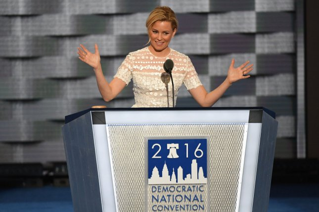 Elizabeth Banks speaks on day two of the Democratic National Convention at the Wells Fargo Center in Philadelphia, Pa. on July 26, 2016. Photo by Pat Benic/UPI