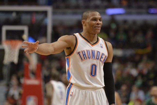Russell Westbrook collected his 28th triple-double of the season to lead Oklahoma City to a 110-93 win over Los Angeles at Chesapeake Energy Arena. File Photo by Brian Kersey/UPI