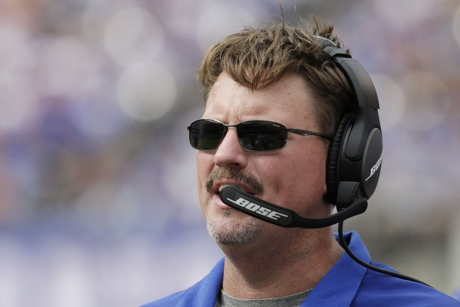 New York Giants head coach Ben McAdoo has been pleased by the team's progress at OTAs this past week despite missing starts like Odell Beckham Jr. File photo by John Angelillo/UPI