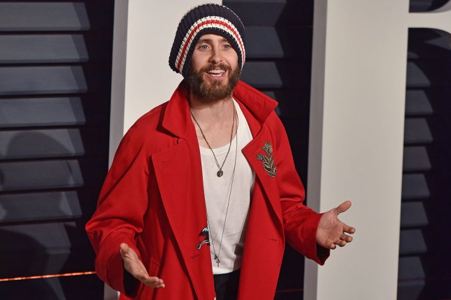 Jared Leto attends the Vanity Fair Oscar Party on February 26. Leto has been cast has Hugh Hefner in an upcoming biopic. File Photo by Christine Chew/UPI