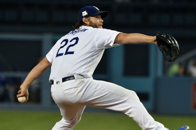 Los Angeles Dodgers pitcher Clayton Kershaw pitches in the fifth inning against the Chicago Cubs in game 1 of the NLCS at Dodgers Stadium in Los Angeles on October 14, 2017. File photo by Jim Ruymen/UPI