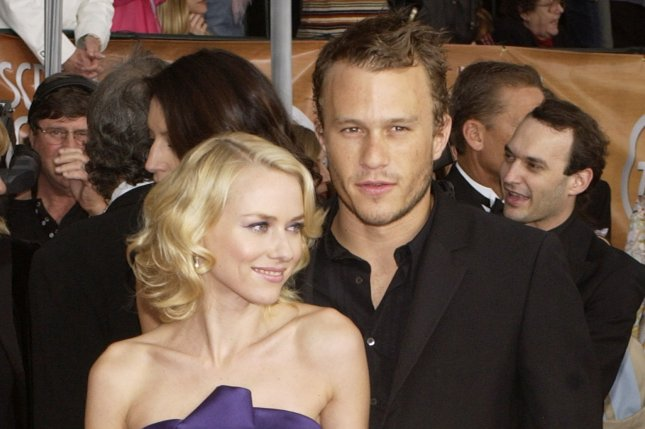 Naomi Watts (L), pictured with Heath Ledger at the 2004 Screen Actors Guild Awards, posted a photo from the event Wednesday on what would have been Ledger's 39th birthday. File Photo by Jim Ruymen/UPI