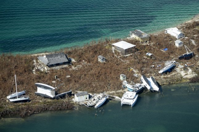 A flyover view shows a stripped landscape and tremendous damage done by Hurricane Dorian.  File Photo by Joe Marino/UPI