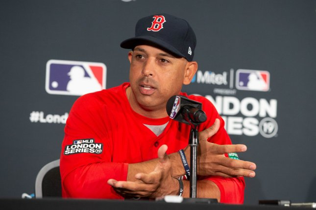 Former Boston Red Sox manager Alex Cora, who mutually agreed to part ways with the club in January, was suspended through the 2020 postseason for his role as bench coach of the Houston Astros during their sign-stealing scandal. He wasn't punished for any conduct with Boston. File Photo by Mark Thomas/UPI