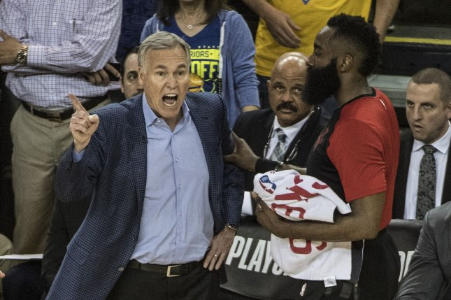 Houston Rockets head coach Mike D'Antoni (L), whose contract expired at the end of this season, previously turned down extension offers before the 2019-20 campaign. File Photo by Terry Schmitt/UPI
