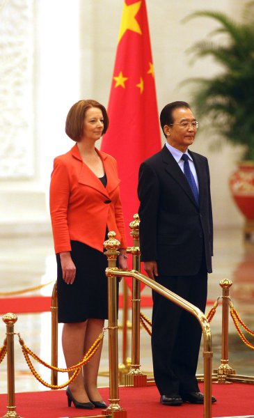 Australian Prime Minister Julia Gillard and Chinese Premier Wen Jiabao are shown at a ceremony in Beijing April 26, 2011. UPI/Stephen Shaver