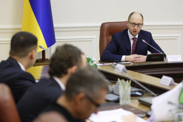 Ukrainian Prime Minister Arseniy Yatsenyuk holds a government meeting in Kiev on March 16, 2014. Ukraine held a referendum vote today on the status of Crimea and whether to give the land to Russia. UPI/Ivan Vakolenko