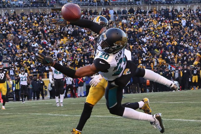 Jacksonville Jaguars cornerback Jalen Ramsey (20) breaks up a pass intended  for Pittsburgh Steelers wide receiver Antonio Brown in the fourth quarter  of the ... 9e4a86a18
