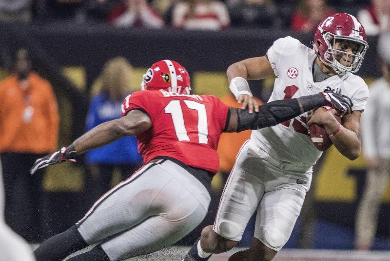 Quarterback Tua Tagovailoa and top-ranked Alabama pay a visit to Arkansas this weekend. Photo by Mark Wallheiser/UPI