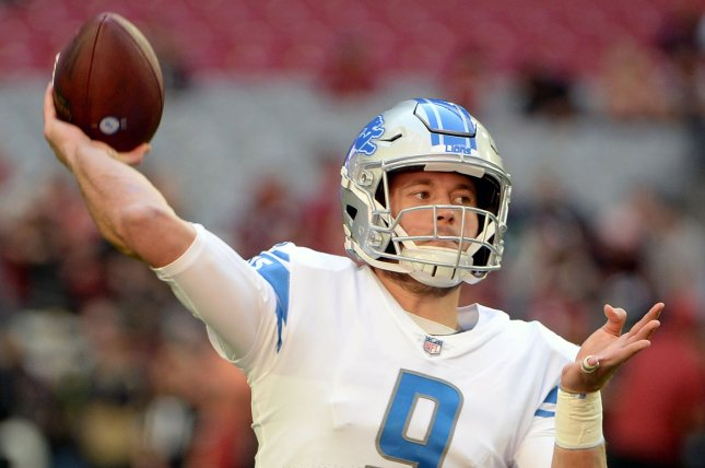 Detroit Lions quarterback Matthew Stafford warms up before the Lions-Arizona Cardinals game on Sunday at State Farm Stadium in Glendale, Arizona. Photo by Art Foxall/UPI