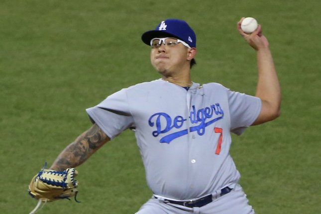 Los Angeles Dodgers relief pitcher Julio Urias has a 3.18 ERA this season. File Photo by Matthew Healey/UPI