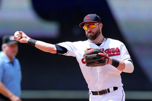 Cleveland Indians second baseman Jason Kipnis has a fracture of the hook of the hamate bone in his right hand. File Photo by Aaron Josefczyk/UPI