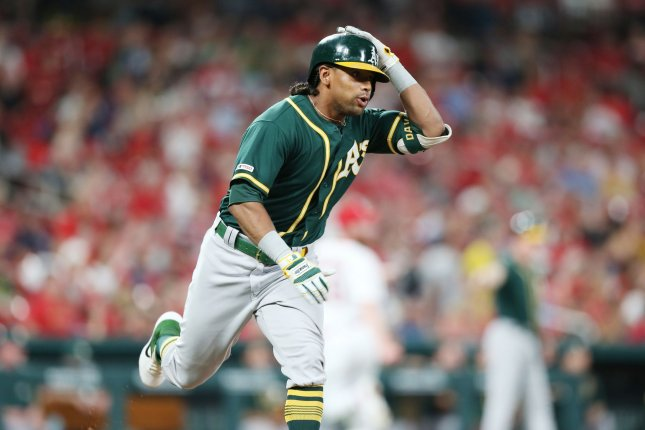 Former Oakland Athletics slugger Khris Davis, shown June 25, 2019, was traded to the Texas Rangers in late February. He led the American League in home runs during the 2018 season. File Photo by Bill Greenblatt/UPI