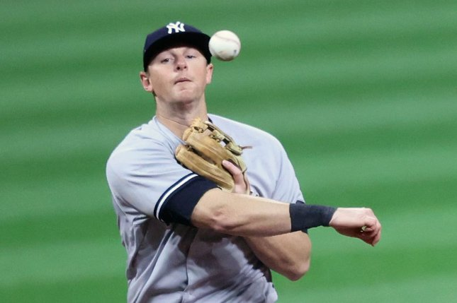 New York Yankees first baseman D.J. LeMahieu got the first out in a triple play sequence in the first inning of a win over the Toronto Blue Jays on Thursday at Yankee Stadium. File Photo by Aaron Josefczyk/UPI